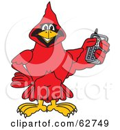 Royalty Free RF Clipart Illustration Of A Red Cardinal Character School Mascot Holding A Cell Phone by Toons4Biz
