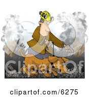 Man Handling A Search And Rescue Dog In A Burning Building Clipart Picture