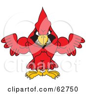 Royalty Free RF Clipart Illustration Of A Red Cardinal Character School Mascot With Strong Arms