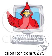 Royalty Free RF Clipart Illustration Of A Red Cardinal Character School Mascot In A Computer by Toons4Biz