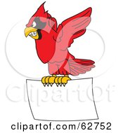 Royalty Free RF Clipart Illustration Of A Red Cardinal Character School Mascot Flying With A Blank Sign