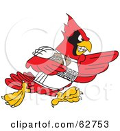 Royalty Free RF Clipart Illustration Of A Red Cardinal Character School Mascot Playing American Football