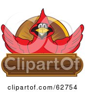 Royalty Free RF Clipart Illustration Of A Red Cardinal Character School Mascot Wood Plaque Logo by Toons4Biz