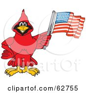 Royalty Free RF Clipart Illustration Of A Red Cardinal Character School Mascot With An American Flag