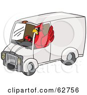 Royalty Free RF Clipart Illustration Of A Red Cardinal Character School Mascot Driving A Delivery Van