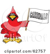 Royalty Free RF Clipart Illustration Of A Red Cardinal Character School Mascot Holding A Banner by Toons4Biz