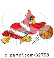 Royalty Free RF Clipart Illustration Of A Red Cardinal Character School Mascot Playing Basketball by Toons4Biz