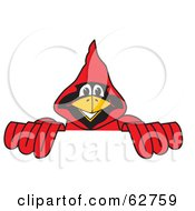 Royalty Free RF Clipart Illustration Of A Red Cardinal Character School Mascot Behind A Blank Sign by Toons4Biz