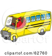 Royalty Free RF Clipart Illustration Of A Red Cardinal Character School Mascot Driving A Bus