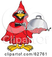 Royalty Free RF Clipart Illustration Of A Red Cardinal Character School Mascot Serving Food by Toons4Biz