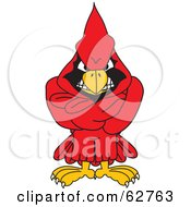 Royalty Free RF Clipart Illustration Of A Red Cardinal Character School Mascot With His Arms Crossed by Toons4Biz