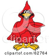 Royalty Free RF Clipart Illustration Of A Red Cardinal Character School Mascot Pointing Outwards