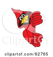 Royalty Free RF Clipart Illustration Of A Red Cardinal Character School Mascot Looking Around A Sign by Toons4Biz