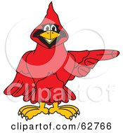 Royalty Free RF Clipart Illustration Of A Red Cardinal Character School Mascot Pointing Right by Toons4Biz