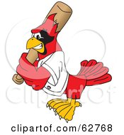 Royalty-Free (RF) Clipart Illustration of a Red Cardinal Character School Mascot Batting by Toons4Biz