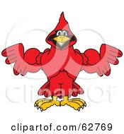 Royalty Free RF Clipart Illustration Of A Red Cardinal Character School Mascot Flexing by Toons4Biz