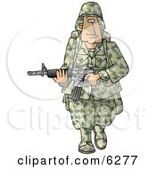 Poster, Art Print Of Army Soldier Armed With A Machine Gun