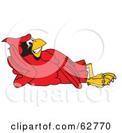 Royalty Free RF Clipart Illustration Of A Red Cardinal Character School Mascot Reclined by Toons4Biz