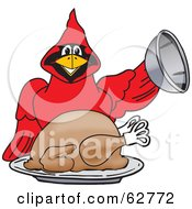 Royalty Free RF Clipart Illustration Of A Red Cardinal Character School Mascot Serving A Thanksgiving Turkey by Toons4Biz