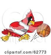 Royalty Free RF Clipart Illustration Of A Red Cardinal Character School Mascot Dribbling A Basketball by Toons4Biz