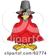 Royalty Free RF Clipart Illustration Of A Red Cardinal Character School Mascot Wearing A Pilgrim Hat by Toons4Biz