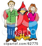 Royalty Free RF Clipart Illustration Of A Red Cardinal Character School Mascot With Teachers Or Parents