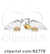 Royalty Free RF Clipart Illustration Of A Griffin Character School Mascot Behind A Blank Sign