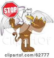 Royalty Free RF Clipart Illustration Of A Griffin Character School Mascot Holding A Stop Sign