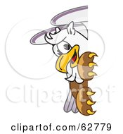 Royalty Free RF Clipart Illustration Of A Griffin Character School Mascot Looking Around A Sign