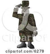 US Marine Delivering A Salute Royalty Free Clipart Picture