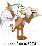 Royalty Free RF Clipart Illustration Of A Griffin Character School Mascot Holding A Report Card