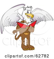 Royalty Free RF Clipart Illustration Of A Griffin Character School Mascot Reading