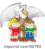 Royalty Free RF Clipart Illustration Of A Griffin Character School Mascot With Students
