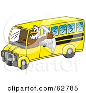 Royalty Free RF Clipart Illustration Of A Griffin Character School Mascot Driving A Bus by Toons4Biz