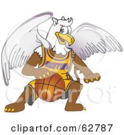 Royalty Free RF Clipart Illustration Of A Griffin Character School Mascot Playing Basketball