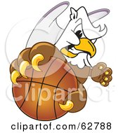 Royalty Free RF Clipart Illustration Of A Griffin Character School Mascot Grabbing A Basketball