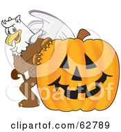 Royalty Free RF Clipart Illustration Of A Griffin Character School Mascot With A Halloween Pumpkin