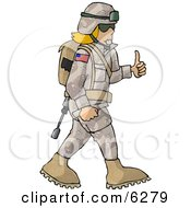 Army Woman Giving Thumbs Up Royalty Free Clipart Picture by djart