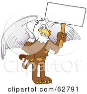 Royalty Free RF Clipart Illustration Of A Griffin Character School Mascot Holding A White Sign