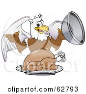 Royalty Free RF Clipart Illustration Of A Griffin Character School Mascot Serving A Thanksgiving Turkey