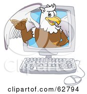 Royalty Free RF Clipart Illustration Of A Griffin Character School Mascot In A Computer
