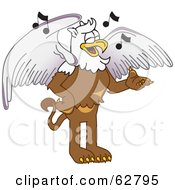 Royalty Free RF Clipart Illustration Of A Griffin Character School Mascot Singing