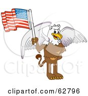 Royalty Free RF Clipart Illustration Of A Griffin Character School Mascot Holding An American Flag