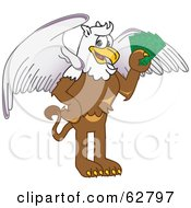 Royalty Free RF Clipart Illustration Of A Griffin Character School Mascot Holding Cash