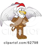 Royalty Free RF Clipart Illustration Of A Griffin Character School Mascot Wearing A Santa Hat