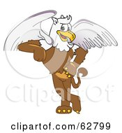 Royalty Free RF Clipart Illustration Of A Griffin Character School Mascot Leaning
