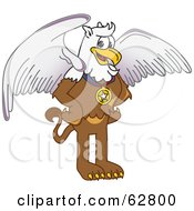 Royalty Free RF Clipart Illustration Of A Griffin Character School Mascot Wearing A Medal