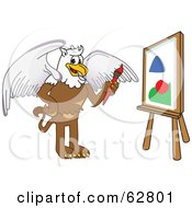 Royalty Free RF Clipart Illustration Of A Griffin Character School Mascot Painting A Canvas