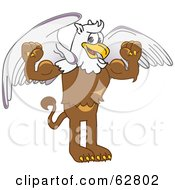 Royalty Free RF Clipart Illustration Of A Griffin Character School Mascot Flexing
