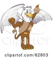 Royalty Free RF Clipart Illustration Of A Griffin Character School Mascot Pointing Up
